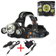 5000 Lumens 3*CREE T6 LED  Headlamp Headlight Frontal LED Headlamp LanternsTorch Flashlight Use18650 + Car/AC Charger(China (Mainland))