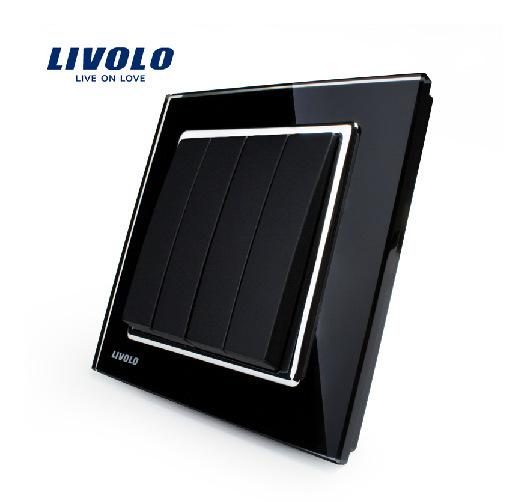 Livolo New Push Button Switch, Black Crystal Glass Panel, Wall Light 4 Gang 1 Way Switch VL-W2K4-11, Free Shipping(China (Mainland))