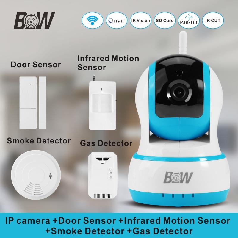 720P HD IP camera Security +Door Sensor/Infrared Motion Sensor/Smoke/Gas Detector Wifi CCTV Camera Monitor Equipment Alarm BW13B(China (Mainland))