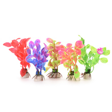 New Plastic Aquarium Decorations Multicolor Artificial Plants Fish Tank Grass Flower Ornament Decor Landscape 1Pc(China (Mainland))