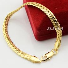 Womens Mens  Yellow Gold Filled Bracelet Snake Chain Hammered Herringbone Link Jewelry(China (Mainland))
