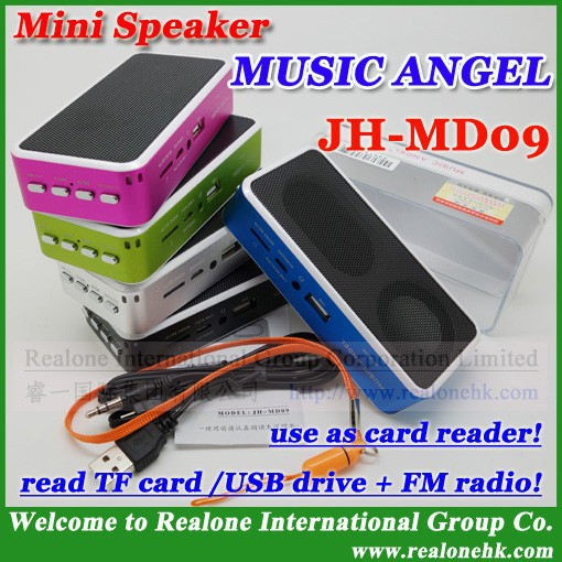 4pcs mini portable speaker original newest music angel speaker read TF card/USB mp3 speaker player with FM(China (Mainland))
