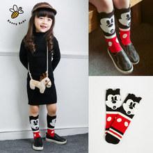 Nette Maus Baby Mädchen Socken Weicher Baumwolle Knie Lange kinder Socken Kinder Beinlinge Meias Infantil(China (Mainland))