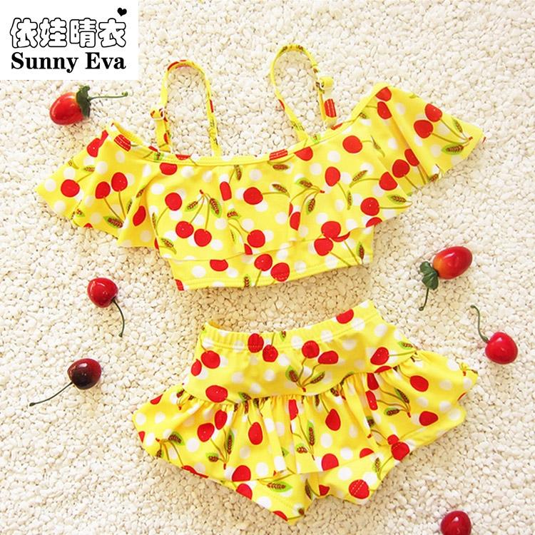 sunny eva Children's swimsuit girls cherry bebek bikini baby girl swimwear girls swim swimsuits for children girls swimming(China (Mainland))