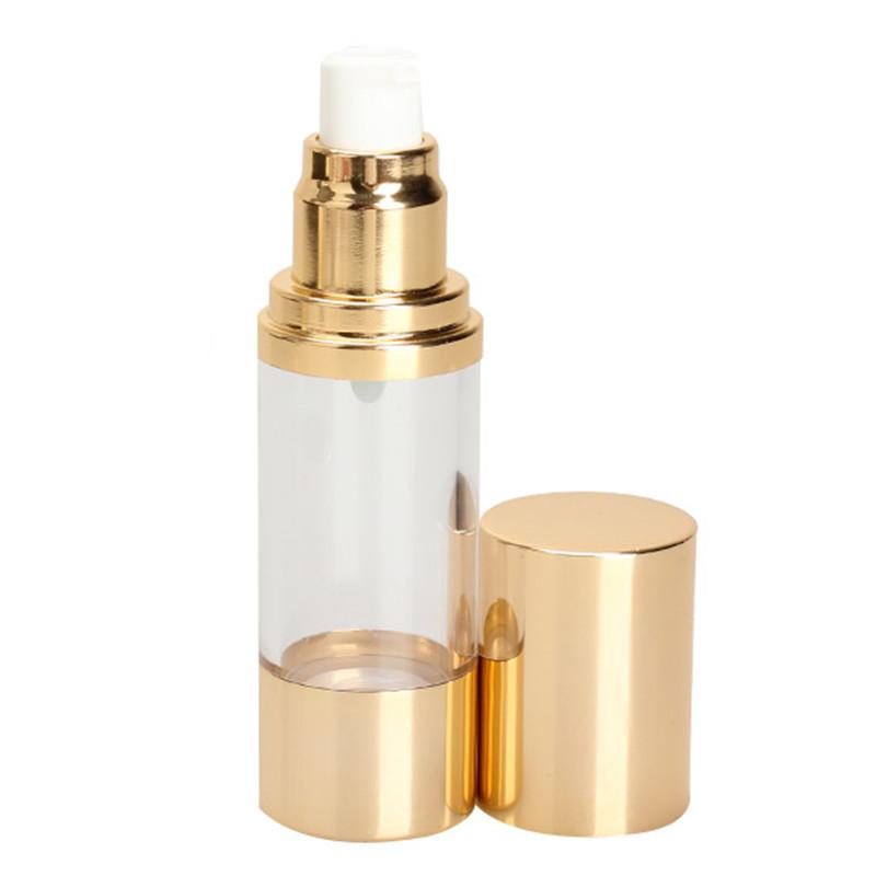 30ML Perfume Vacuum Flask Pump Bottle Gold Cap for Essence Lotion Creams Makeup Tool Portable(China (Mainland))