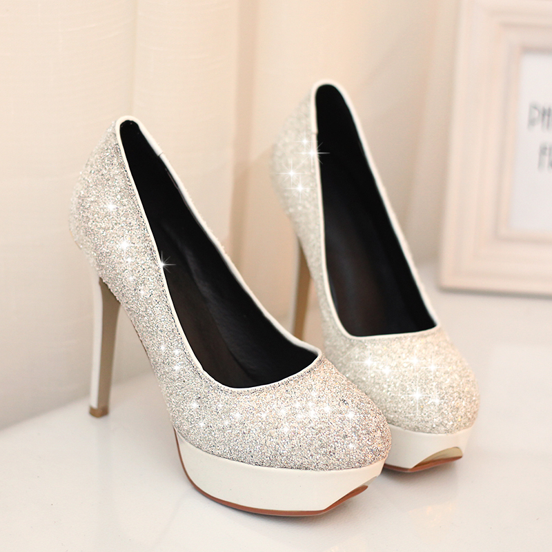 2014 New Fashion  White Blue High Heels Sequined Women Platform Pumps Shoes AS-53