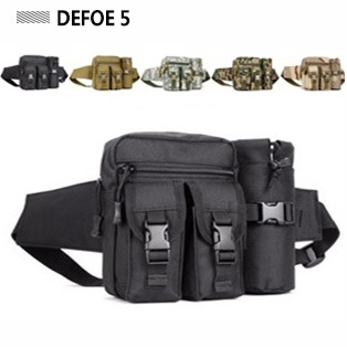 Men fashion sports outdoor pocket 1000D nylon waist pack multi functional water bottle travel black bag,tactical gear - DEFOE 5 Outdoors store