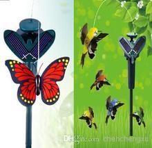 2015 nuevos colibríes solares mariposas jardín juguetes educativos juguetes de energía Solar y la batería combo puede elegir el estilo navidad t