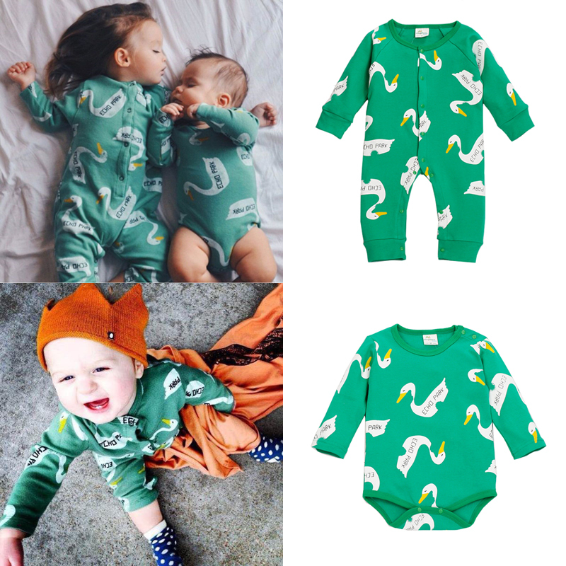 Special Baby Rompers Swan Echo Park Baby Girl Romper Baby Onesie Baby Clothing Rompers Set(1 Long +1 Shorts)(China (Mainland))