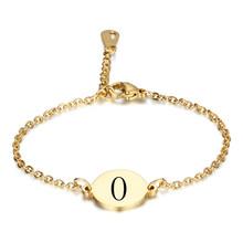 Moda list grawerowane bransoletki dla kobiet złoty kolor stalowy łańcuch ogniwo biżuteria Pulseras Mujer długość regulowana(China)