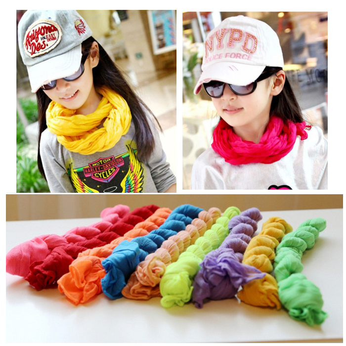 Free shipping Autumn and Winter Women/Children Scarves Cotton Blended Scarf Shawl Kids Cute pure colour silk wraps 8 color(China (Mainland))