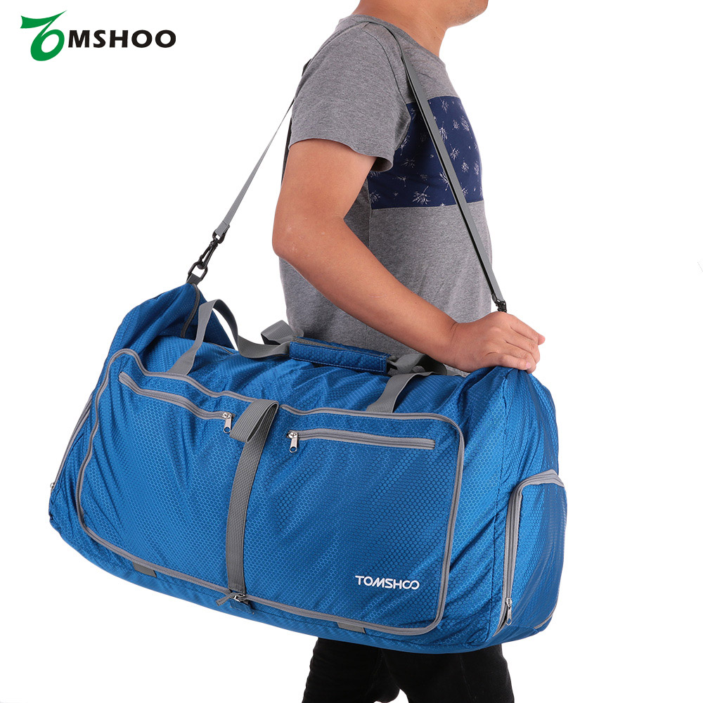 TOMSHOO Waterproof Polyester Men Travel Bag Women Large Capacity 80L Foldable Packable Duffle Bag Sports Gym Bags(China (Mainland))