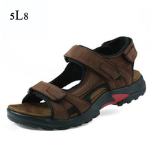 High Quality Men Sandals 2015 Genuine Leather Beach Sandals for Men Plus Size 38-48 Outdoor Rubber Bottom Men's Summer Shoes