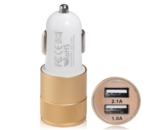 top quality 2.1A 1.0A Dual USB Port Fast Car Charger with Aluminium Case (Golden) Plug-and-play(China (Mainland))
