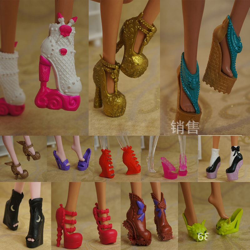 5Pairs/Lot Free Shipping Fashion Shoes For Monster Dolls Beautiful High Heels Monster Doll Sandals Boots Mixed-Style Shoes(China (Mainland))