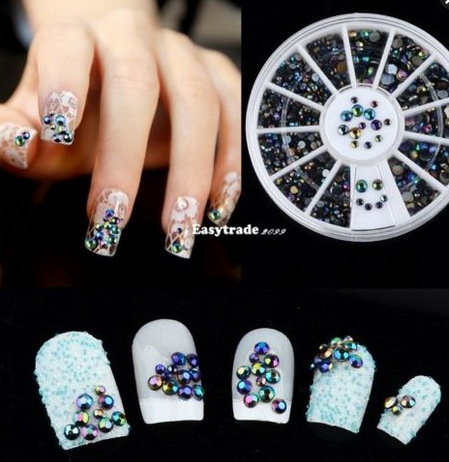 Black acrylic nail art decorations 3d nail jewelry wheel mixed size nail polish glitter rhinestones drill box Manicure tools(China (Mainland))
