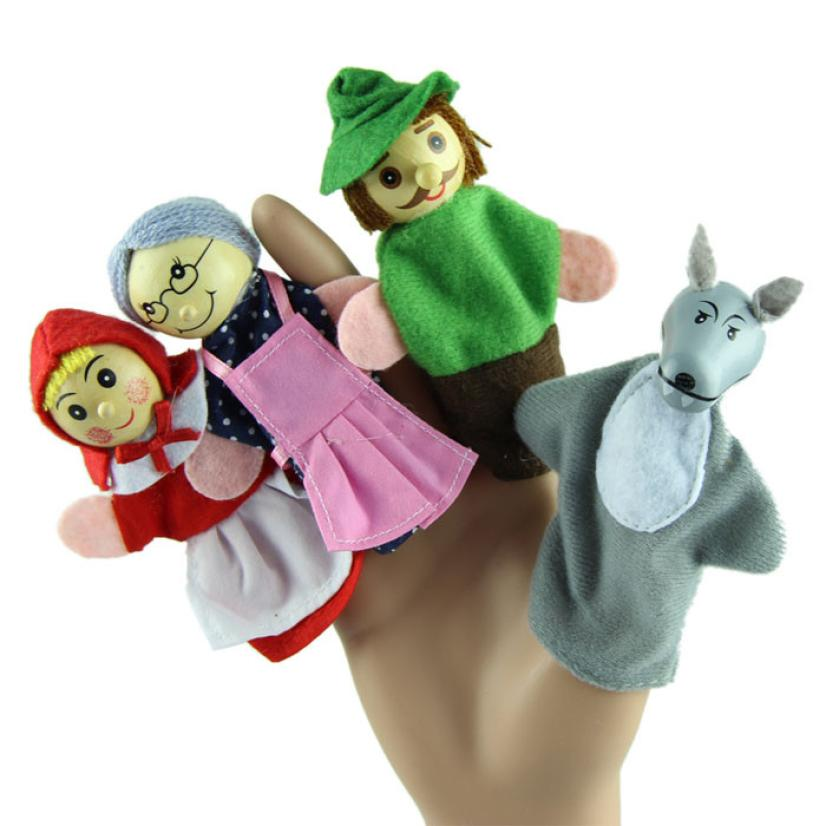 Гаджет  Free Shipping New 4PCS/Set Little Red Riding Hood Christmas Animal Finger Puppet toy Kid Educational Toys Storytelling Doll  None Игрушки и Хобби