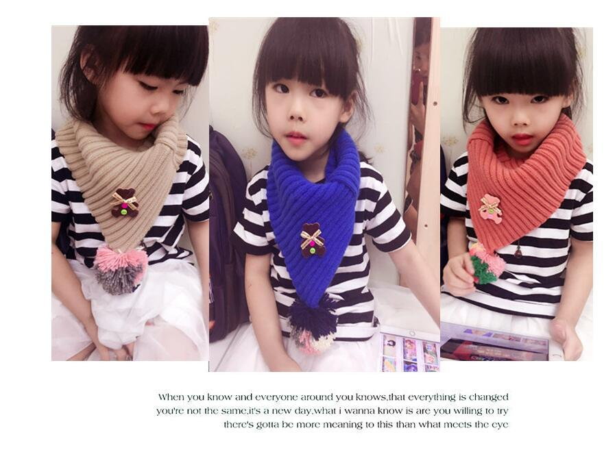 Autumn and winter children 's models of wool scarf Hanging bear ball sets of tide boys and girls scarves