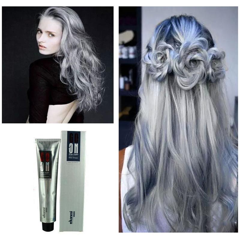 100ml DANESI GOON COLOR HAIR CREAM LIGHT GRAY COLOR Permanent Super Hair Dye You Can Choose Peroxide Cream(China (Mainland))