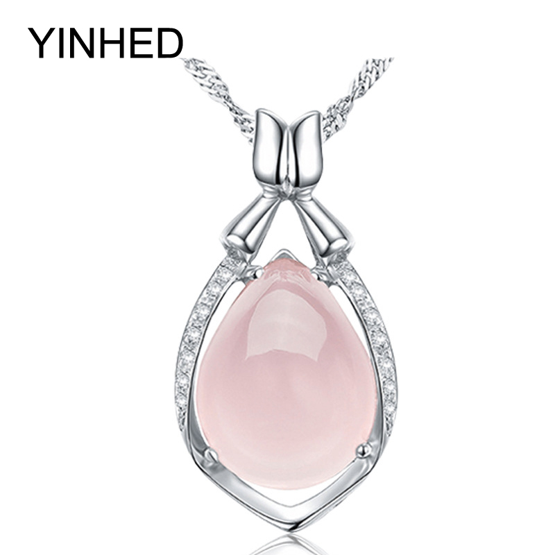 Luxury Natural Rose Stone Pendant Necklace 925 Sterling Silver Jewelry Crystal Powder Water Drop Necklace for Women Gift ZN056(China (Mainland))