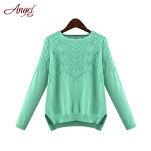 2016 New Fashion Autumn Winter Casual Long Sleeve O-neck Cotton Sweaters Knit Pullovers Blusas Tops Base Shirts Plus Size XL-5XL(China (Mainland))