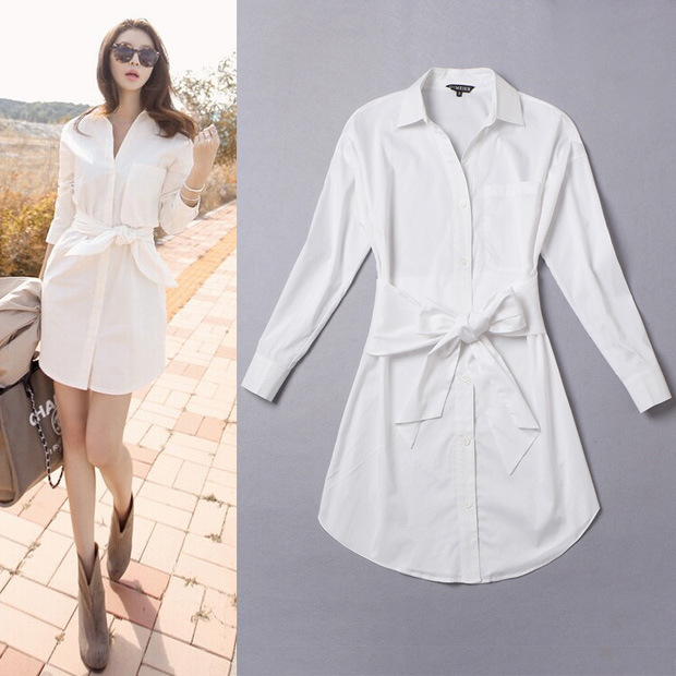 Beautiful Com  Buy White Shirt Dress Women Boyfriend Style Long Sleeve Dresses