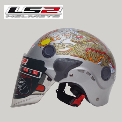 Free shipping authentic wear a motorcycle helmet LS2 OF101 double mirror washable lining half helmet / Silver Dragon(China (Mainland))