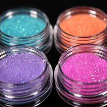 12 Color Metal Glitter Nail Art Tool Kit Acrylic Powder Dust gem Polish Nail Tools M01090