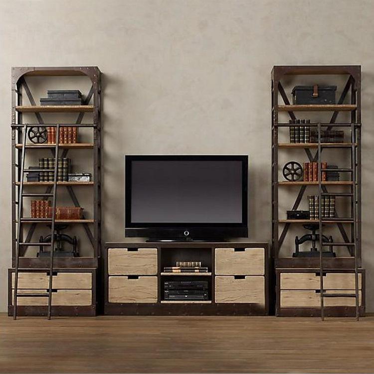 C Iron retro creative audiovisual multilayer wood cabinet TV cabinet combination bookcase factory direct wholesale(China (Mainland))