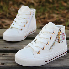 2015 children boots canvas shoes fashion girls boys shoes high double side zipper breathable sneakers for baby brand shoes(China (Mainland))