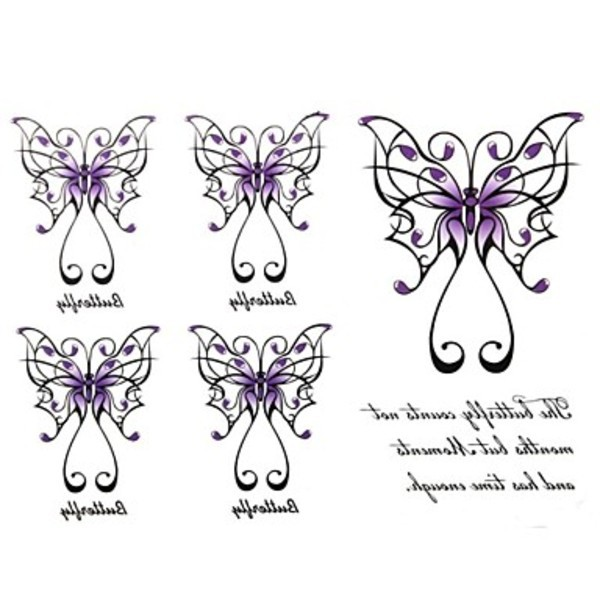 Newway 2Pcs Yimei Tattoo Stickers Waterproof Animal Series Women Girl Men Adult Boy Teen Black Purple Butterfly 17cm*16cm(China (Mainland))