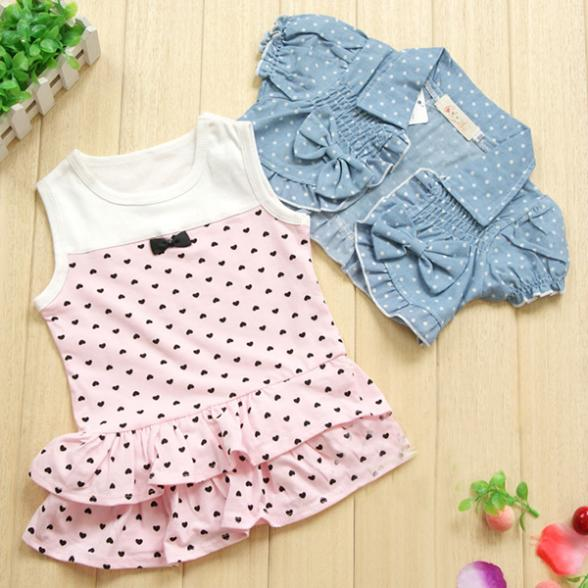 AliExpress.com Product - Best Price New 1-3Y Kids Baby Girl Vest Dress+Bow Denim Short Sleeve Jean Coat Clothes Outfits