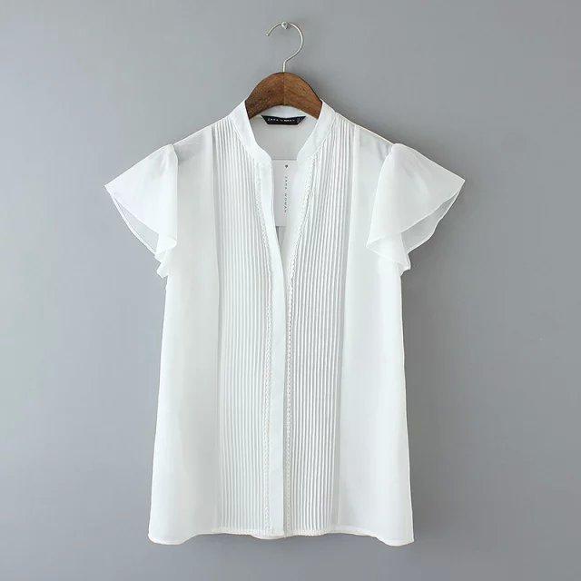 Fg1 Fashion Summer Women Lace Pleated Office White Chiffon Blouse V Neck Ruffle Sleeve Shirts Casual Brand Camisas Femininas(China (Mainland))