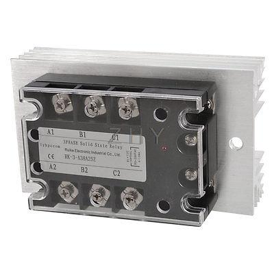AC 90-280V to AC 380V 25A 3 Phase SSR Solid State Relay w Aluminum Heat Sink<br><br>Aliexpress
