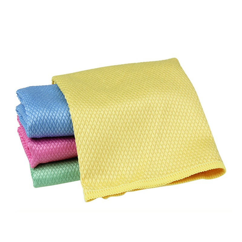 6 Pieces Diamond Grid Solid Absorbent Microfiber Glass Cleaning Cloth Kitchen Table Window Towels Panno Da Cucina 30*40cm(China (Mainland))