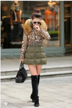 free Shipping In the new winter long down cotton padded female leopard splicing slim big fur collar jacket