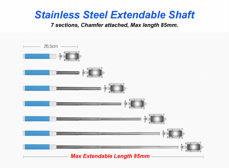 image for New Stainless Steel Portable Handheld Extendable Monopod Selfie Stick
