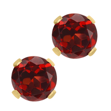1.30 Ct Round Cut Red Natural Garnet 14K Yellow Gold Women's Stud Earrings(China (Mainland))