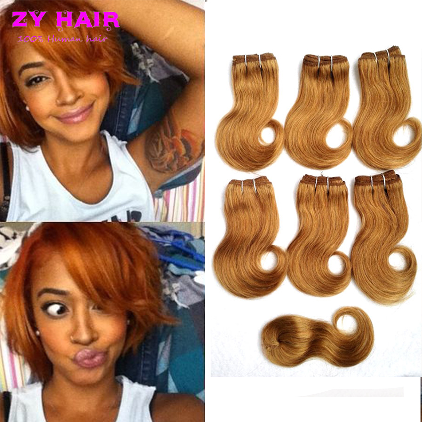 Honey Blonde Malaysian Body Wave Hair With Closure Bob Weave Onda Brasilena del cuerpo 6 paquetes 7a cortas del pelo Real Hair(China (Mainland))