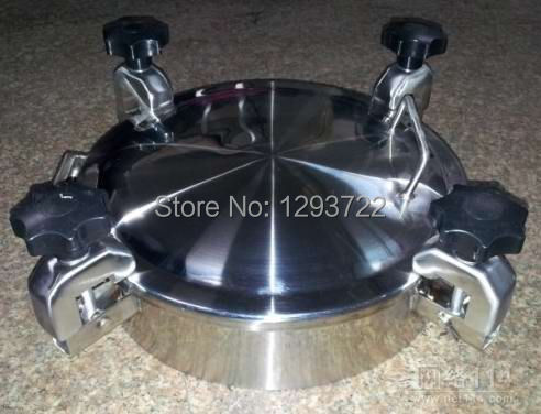 450mm SS304 Circular handhole cover with pressure, Round manway door, manhole cover, Height:100mm,YAA manhole covers stainless(China (Mainland))