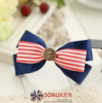 Free shipping Red and white stripe fabric blue big bow hairpin headband accessories 1160  wholesale