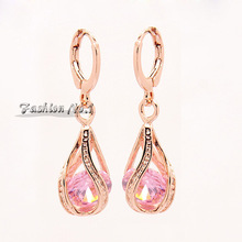 New Arrival Jewelry Dangle Earrings 4 Colors CZ Diamond Fashion 18K Gold Plated Drop Earrings Free Shipping