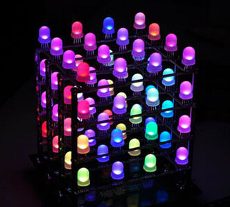 Studio Rainbow Cube Kit(Assembled)3D RGB 4*4*4 LED Cube useful for creating colorful design Arduino compatible KIT12845P(China (Mainland))