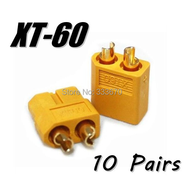 Wholesale 10 Pair Of XT60 XT-60 Male Female Bullet Connectors Plugs For RC Lipo Battery Free Shipping(China (Mainland))