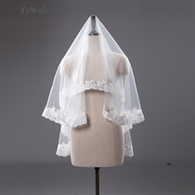 1.5M In Stock High Quality Ivory white short wedding veils Lace Edge wedding accessories bridal veil veu de noiva voile mariage(China (Mainland))