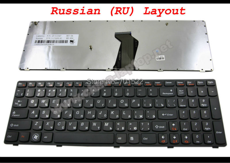 100% Genuine New Laptop keyboard for Lenovo Z570 V570 B570 B570A B570G B575 V570C Black frame Russian RU Version V-117020FS1-RU(China (Mainland))