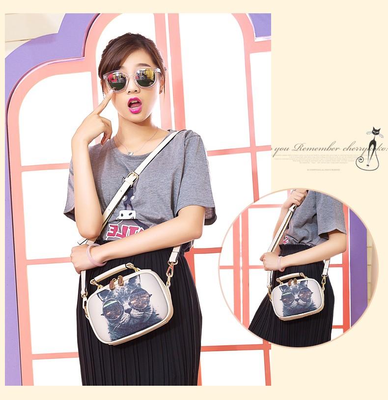 Famous Brand Fashion Cartoon Print Shoulder Bag Ladies Lovely Cat Hand-held Bag Women Designer Small Crossbody Bag