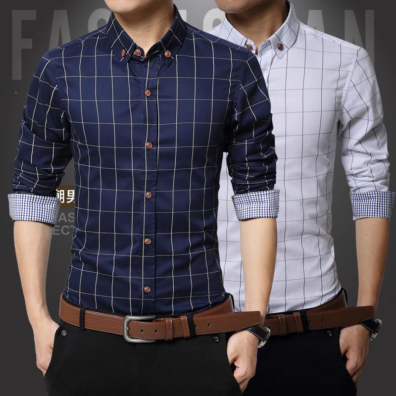 Wholesale men shirt sport mens shirt for men 39 s clothes for Cheap slim fit shirts
