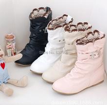 Otoño moda Casual hebilla botas cortas planas mujeres invierno gruesa nieve caliente del tamaño grande más el tamaño de la ue 41 42 43 44(China (Mainland))