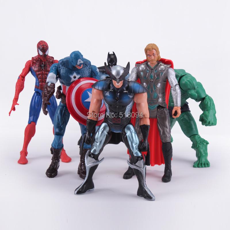 "Free shipping The Avengers Captain America Wolverine Thor Spiderman Batman PVC Action Figures Toys 6"" 14CM 6pcs/set HRFG319(China (Mainland))"